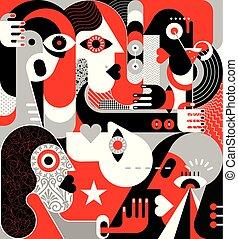 vetorial, grupo, ilustração, pessoas