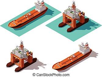 vetorial, guarneça, isometric, lubrifique navio-tanque
