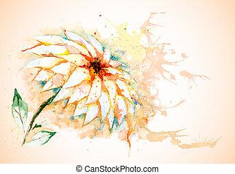vetorial, horizontais, flor, lírio, fundo