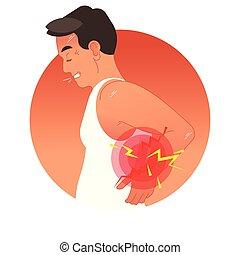 vetorial, human, esportes, ou, sobrecarga, injury., costas, trabalho, torso., ilustração, conceito, doloroso