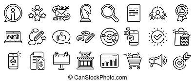 vetorial, icons., feedback., marketing, linha, estratégia