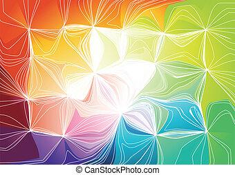 vetorial, ilustração, arco íris, experiência.
