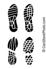 vetorial, ilustração, footprin