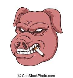 vetorial, ilustração, fumaça, porca