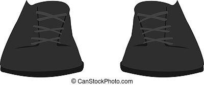 vetorial, ilustração, morno, pretas, botas, desporto, moda, caricatura