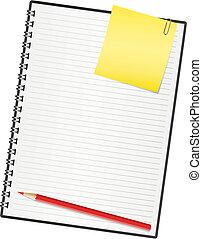 vetorial, ilustração, paper., caderno