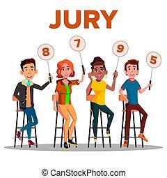 vetorial, júri, placas, mostrar, sinal, contagem, caráteres