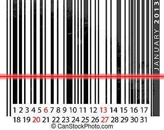 vetorial, janeiro, barcode, ilustração, calendário, 2013, design.