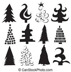 vetorial, jogo, árvores natal