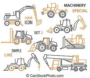 vetorial, jogo, ícone, equipamento, maquinaria, linear, construção, especiais