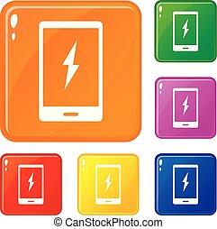 vetorial, jogo, ícones, cor, telefone, aviso