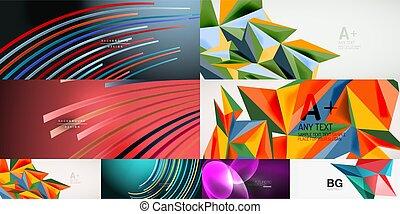vetorial, jogo, abstratos, ilustração, bandeiras, mídia, voadores, coberturas, social, backgrounds.