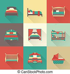 vetorial, jogo, cama, ícone