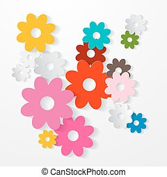 vetorial, jogo, coloridos, corte papel, flores