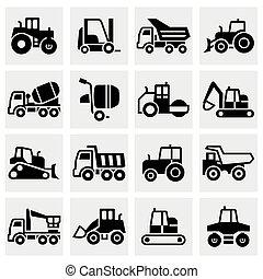 vetorial, jogo construção, transporte, ícone