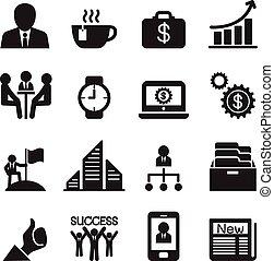 vetorial, jogo, ilustração negócio, ícones