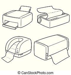 vetorial, jogo, impressoras