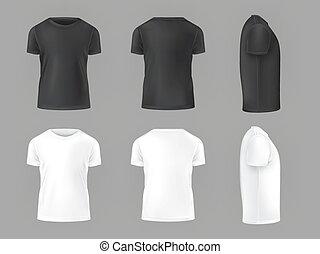 vetorial, jogo, macho, camisetas, modelo