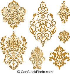 vetorial, jogo, ornamento, ouro, damasco