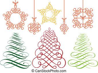 vetorial, jogo, ornamentos, natal