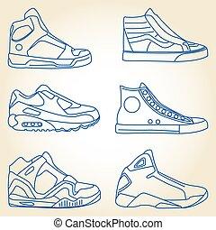 vetorial, jogo, sapatos, sketched