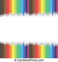 vetorial, lápis, gráfico, organizado, coloridos, background-, filas
