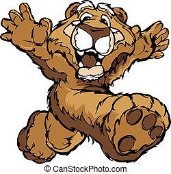 vetorial, leão, executando, montanha, puma, sorrindo, ou, mascote, ilustração, mãos