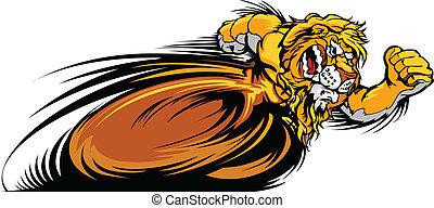 vetorial, leão, mascote, gráfico, correndo