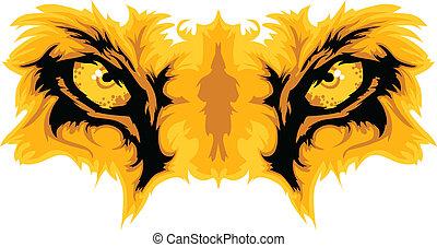 vetorial, leão, olhos, mascote, gráfico