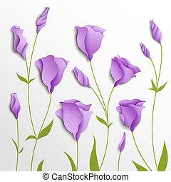 vetorial, lilás, eustoma, flor, experiência.
