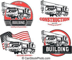 vetorial, logos., truck-mounted, jogo, crane.
