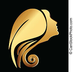 vetorial, logotipo, mulher, ouro, rosto