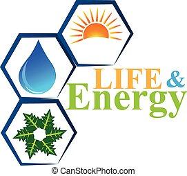 vetorial, logotipo, vida, elementos, energia