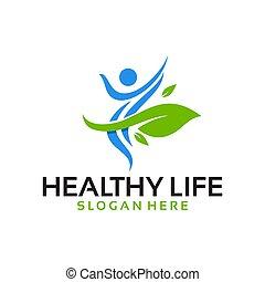 vetorial, logotipo, vida, saudável