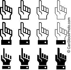 vetorial, -, mão, aviso, fácil, dedo indicador, linha, espessura, mudança