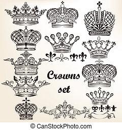 vetorial, mão, coroas, jogo, desenhado
