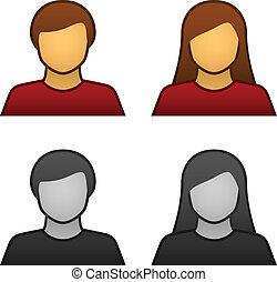 vetorial, macho, avatar, femininas, ícones