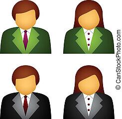 vetorial, macho, femininas, ícones negócio