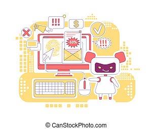vetorial, magra, conceito, teia, ligações, bot, design., spam, newsletter., software, criativo, 2d, mau, anúncios, clique, idéia, letras, illustration., automatizado, enviando, robô, caricatura, personagem, linha, clicando