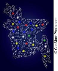 vetorial, mapa, fio, bangladesh, quadro, luminoso, manchas, glowing, malha