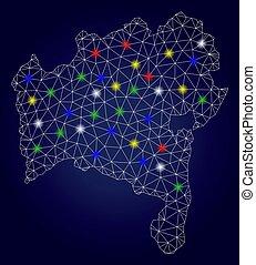 vetorial, mapa, fio, luz, quadro, estado, manchas, luminoso, malha, bahia