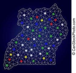 vetorial, mapa, frame fio, glowing, manchas, luminoso, malha, uganda