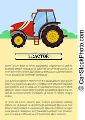 vetorial, maquinaria, ícone, agrícola, bandeira, caricatura