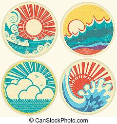 vetorial, mar, sol, waves., seascape, ícones, vindima, ilustração