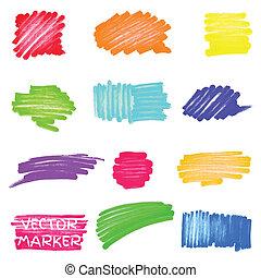 vetorial, marcador, jogo, colorido, manchas