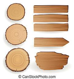 vetorial, material, madeira, elementos