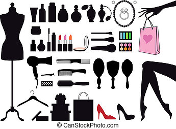 vetorial, moda, jogo, beleza