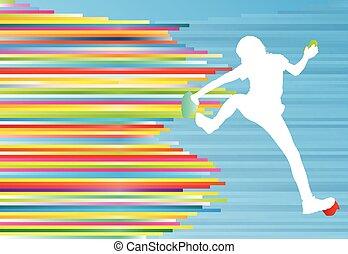 vetorial, montanha, mulher, coloridos, abstratos, linhas, conceito, fundo, escalando