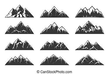 vetorial, montanha, nevado, rochoso, picos, corrente, colinas