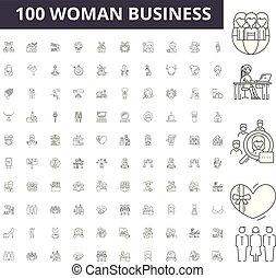 vetorial, mulher, esboço, negócio, jogo, ícones, ilustração, conceito, linha, sinais